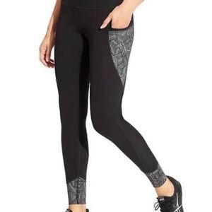 Athleta Black Reflective Detail Relay Fitted Pants